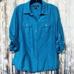 Tommy Bahama Button Front Silk Shirt Womens Extra